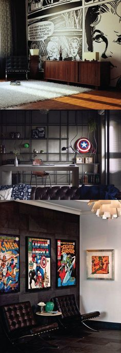 Comic Themed Men's Office. This dark black wall studio has a touch of superhero and comic decor paired with elegant modern furnishings to show taste and style.   10 Man Cave Ideas For Real Men http://diyready.com/man-cave-ideas-for-real-men/