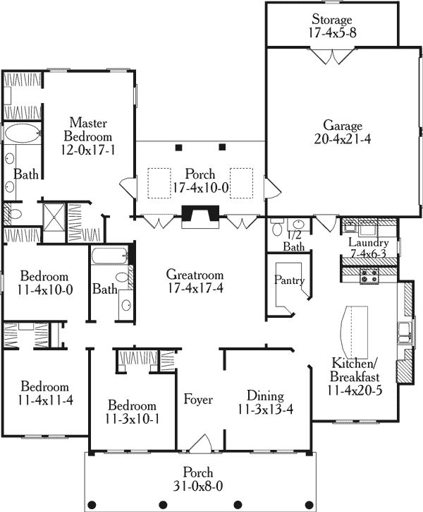 First Floor Plan Of Colonial Country Southern House Plan