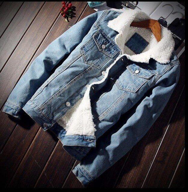 Men/'s Jean Jacket Jeans Between-Seasons Jacket Sherpa Denim Faux Sheepskin Dope