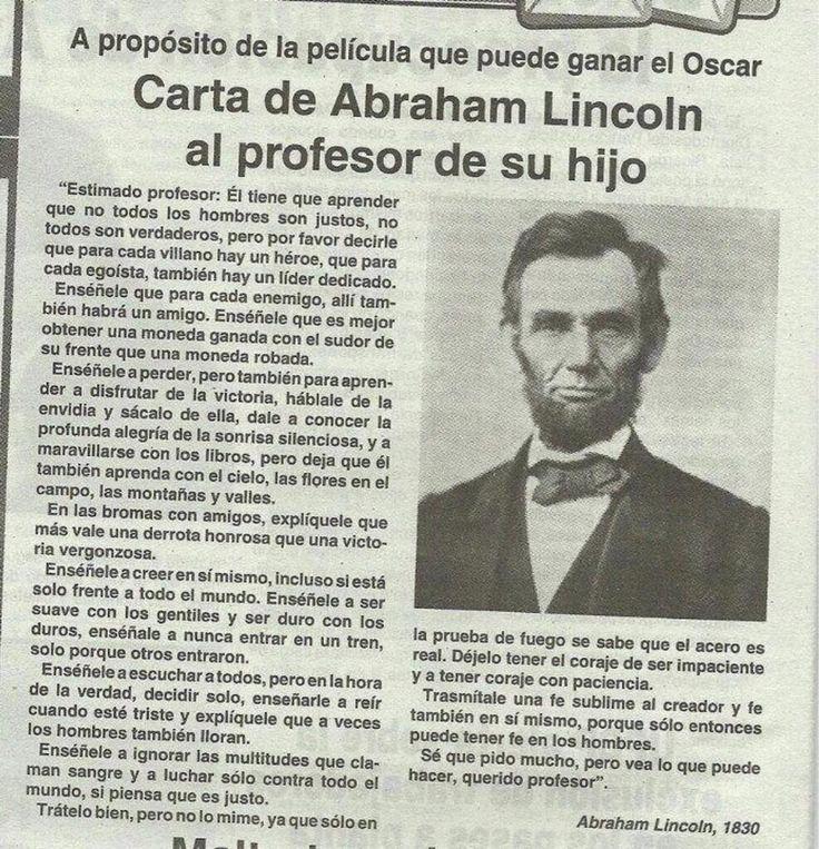 Carta de Abraham Lincoln al profesor de su hijo