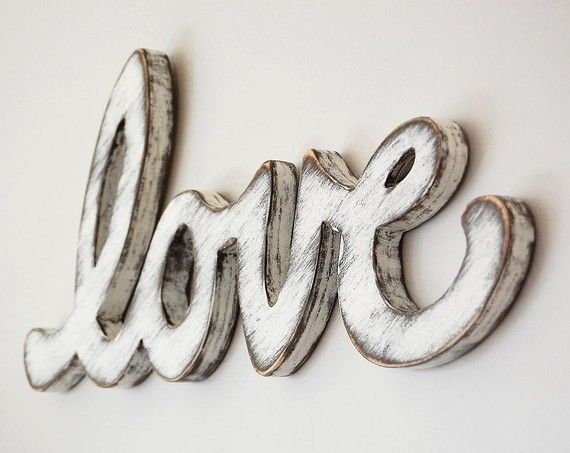 <3Wall Signs, Vintage Wedding, Wedding Decor, Shabby Chic, Wood Signs, Classic White, Wooden Wall, Wooden Letters, Wedding Signs