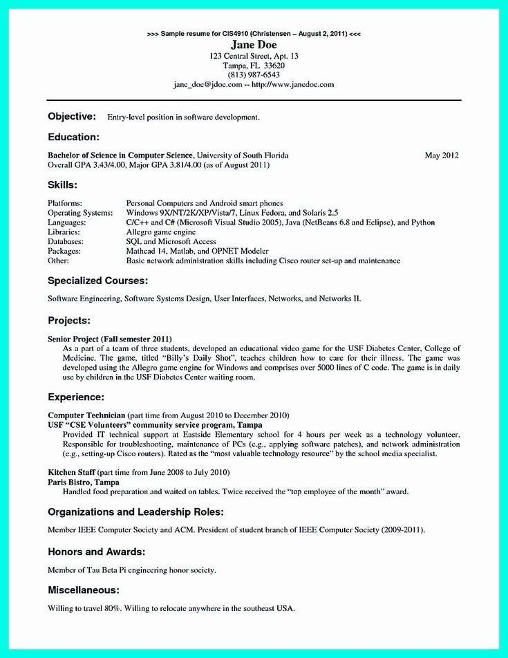 entry level network engineer resume sample for fresher