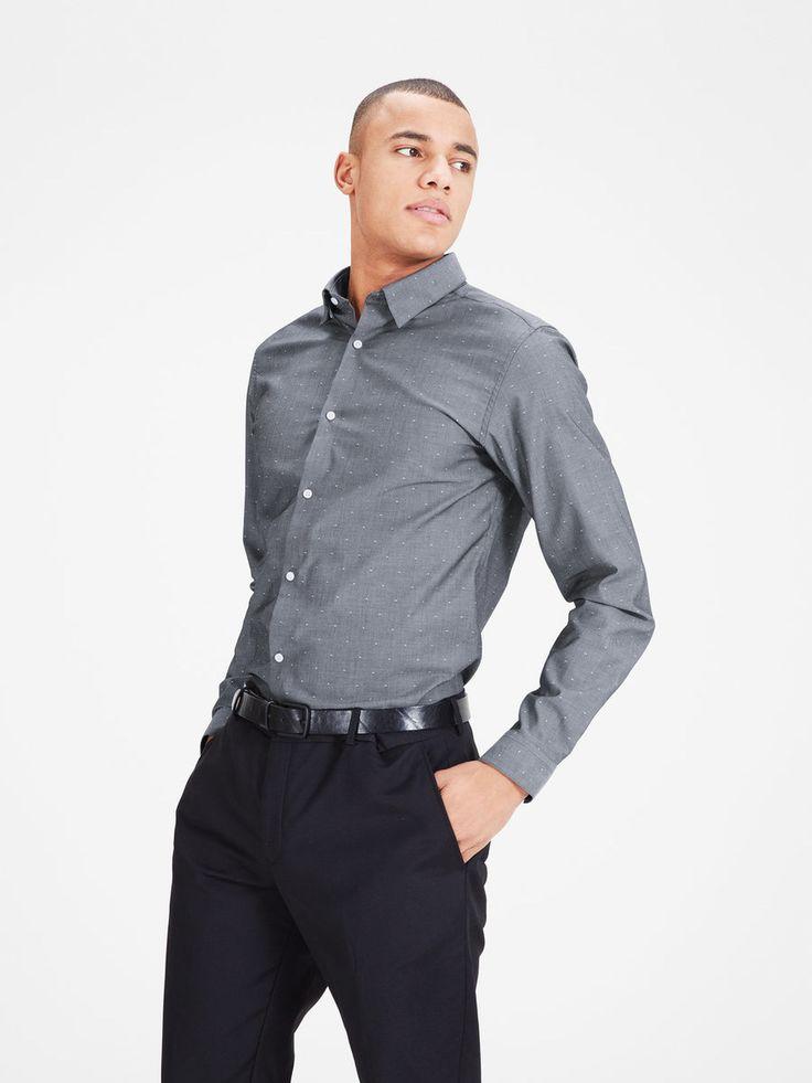 Dark grey formal shirt in pure cotton, slim fit and sleek for a Scandinavian style | JACK & JONES