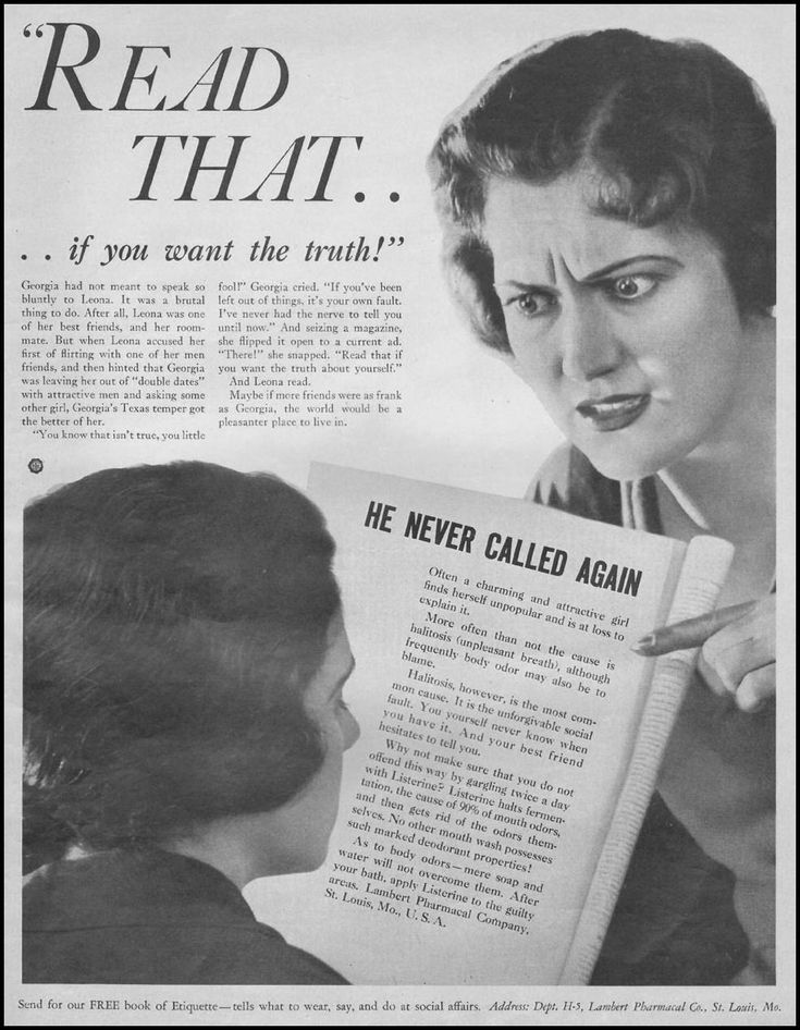 """He Never Called Again."" Listerine Ad. 1932.: Mothers, Best Friends"