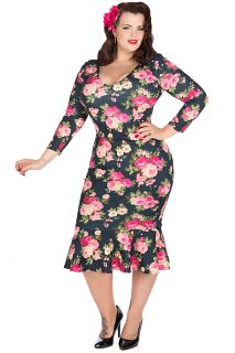 "The Brand New ""Lady Voluptuous"" Rose Print Bellatrix Dress, designed by Georgina Horne. Exclusively available in Sizes 16-32. Made in London. £40"