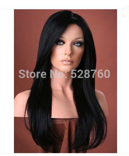 Bella lunghi capelli neri e lisci delle Donne parrucca parrucche sintetiche Spedizione gratuita