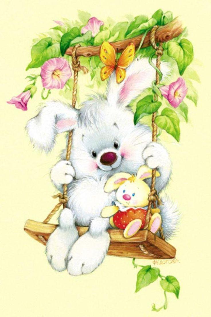 Каждый, открытка девочка с зайчиком