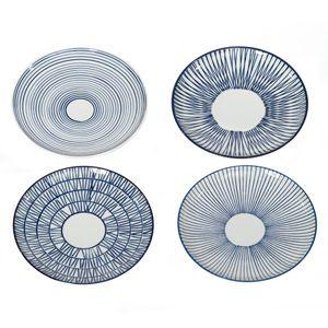Assiette en porcelaine peinte main (par 4) Stripes Pols Potten