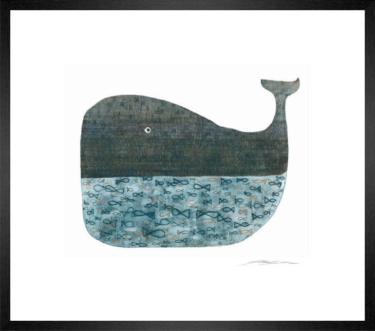Framed Print 'Blue Whale Etching II' 85cm x 74cm at The Bowery