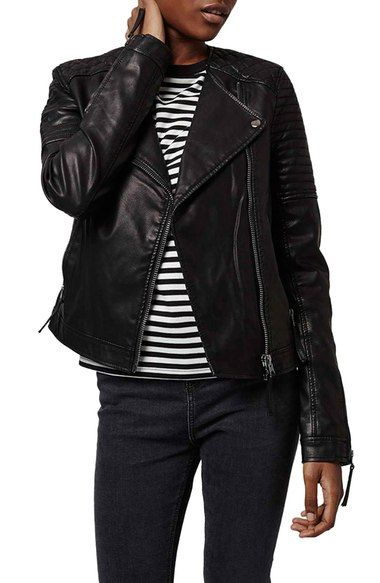 Topshop Quilted Faux Leather Biker Jacket (Petite) available at #Nordstrom