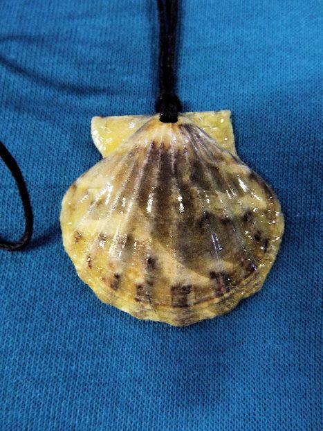 Beautiful handmade scallop seashell pendant with rich earthy shades.
