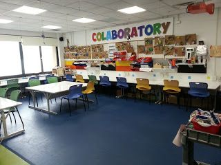 """I love the sign hanging in this kindergarten space: """"Collaboratory."""""""