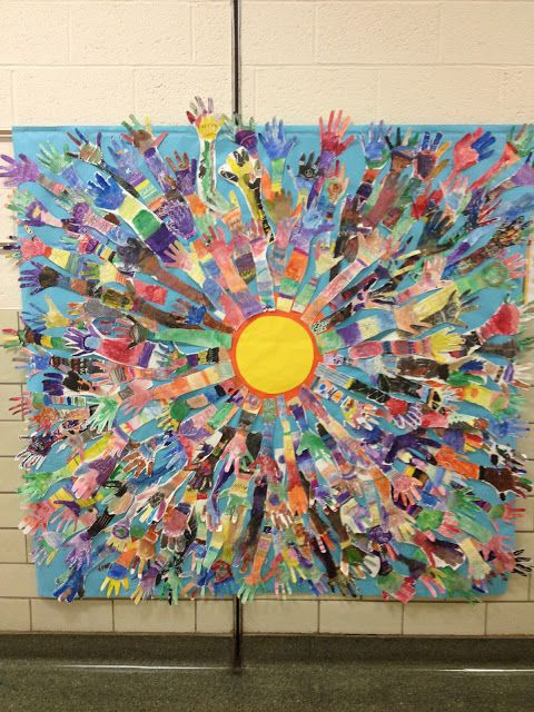 Splats, Scraps and Glue Blobs. Beginning of the year art project. Hands, using lines and crayon resist. 1st and 2nd grades..