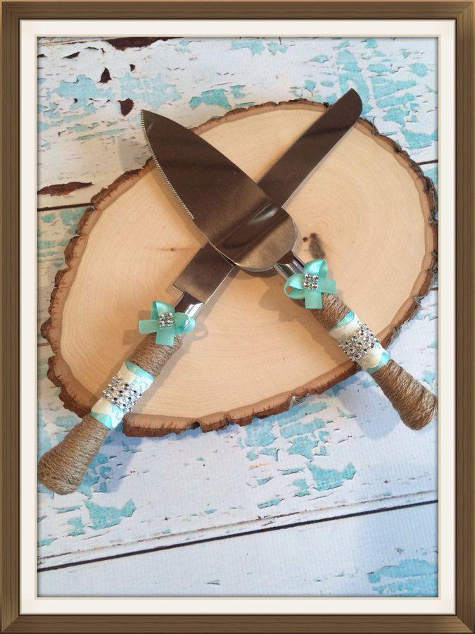 Etsy Aqua Blue Wedding Cake Knife Set Burlap Cutting Rustic Vintage