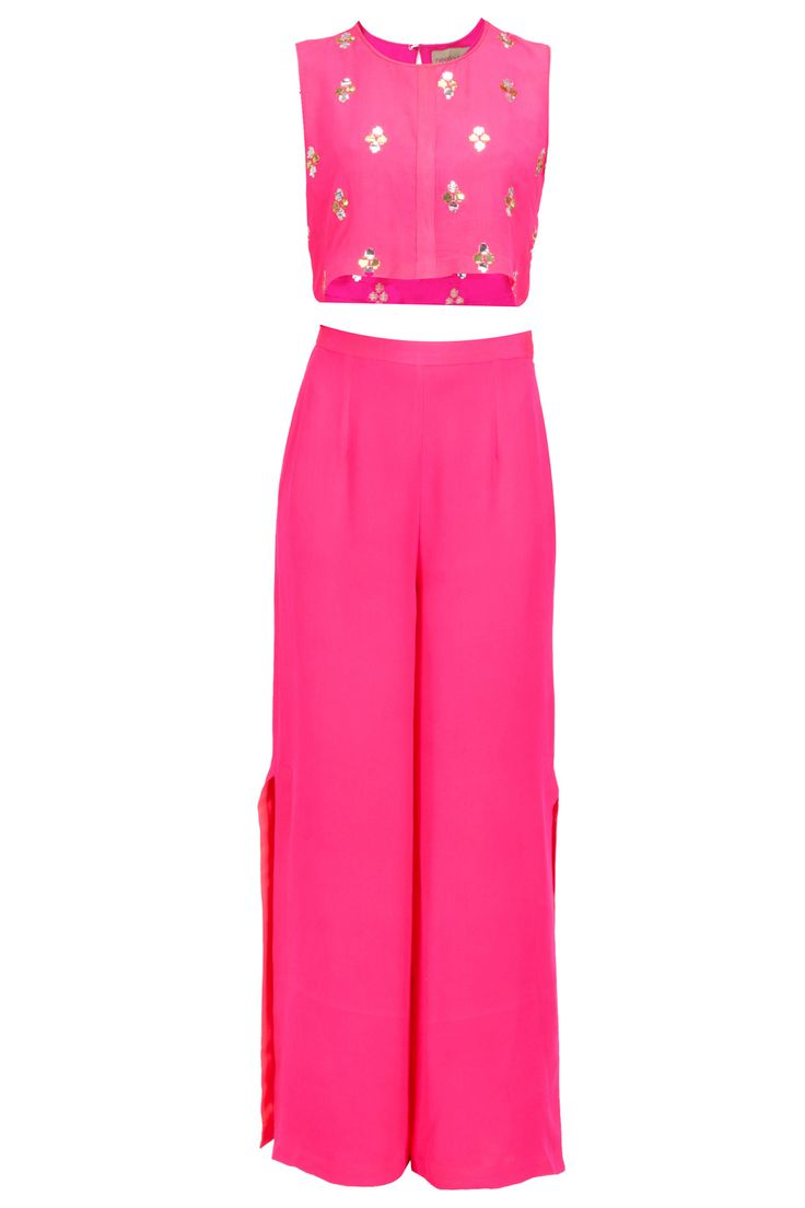 Pink embroidered top with palazzos pants available only at Pernia's Pop-Up Shop.