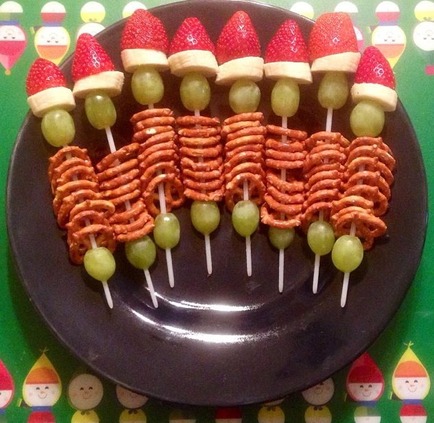 Kindergarten class snack- My take on Grinch Kabobs.  ItsAllAboutAmy