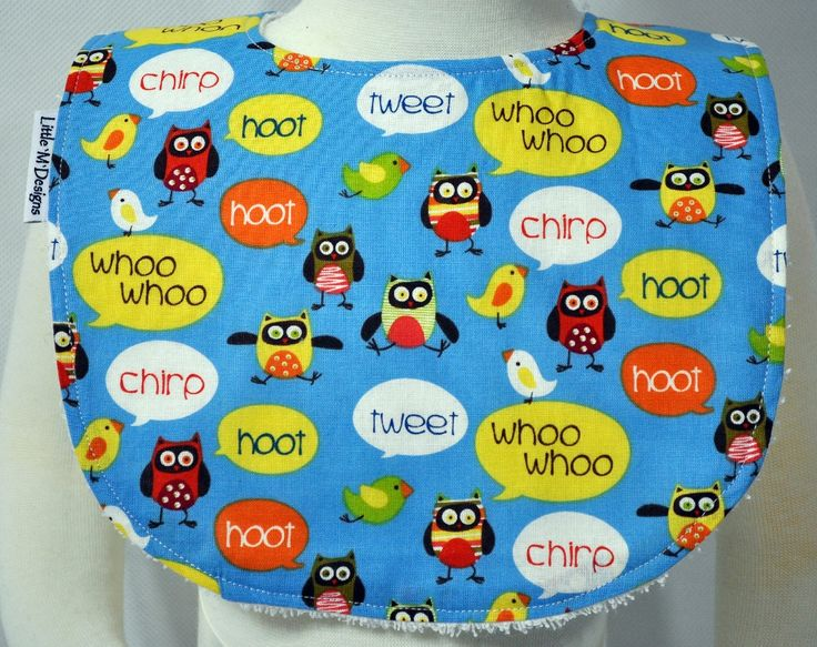 The Hoot and Tweet Bib comes in 2 sizes (Small Bib fits Baby up to 12 Months+ and Large Bib fits Baby/Toddlers 12+ Months).  Neck Circumference: Small Bib 38cm, Large Bib 40 cm.  All bibs are handmade and designed here in Australia by a boutique baby designer label 'Little M Designs'. Bibs are made from quality fabric, the backing to all bibs are terry towelling ensuring that each bib has great absorbency. All bibs close with a press stud/snap clip.