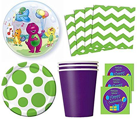 Barney & Friends Birthday Party Supplies Set Plates Napkins Cups Kit for 16 Plus Balloon