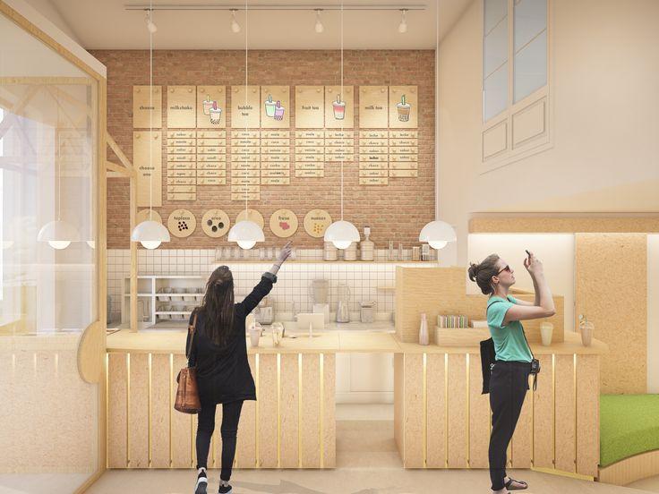Bubble tea. Junio 2016 Proyecto para local pequeño de bubble tea y refrescos de te. Se pretende conservar la estética actual de los...