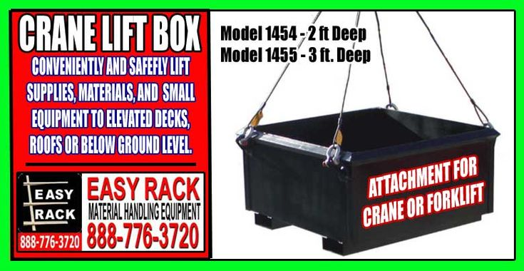 """Crane Lift Box Attachment For Sale At Discount Prices.Crane Lift Box Attachment For Sale At Discount Prices. Call For A FREE Crane Lift Attachment Quote – 888-776-3720  Click Here For Crane Lift Box Pricing  Crane Lifting Eyes offer a secure 4-point pick up (Rigging NIC). Fork Pockets allow for trouble-free usage with a forklift. Designed to carry up to 4,000 lbs. Sturdy 10 Gauge Steel Shell Tub is greatly reinforced with ¼"""" Angle Strong Heavy Duty Design for Long Term Durability"""