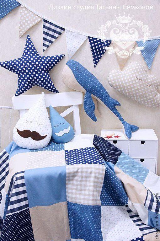 Купить Кит Иванович и его морская семья! - море, кит, лоскутное одеяло, детская