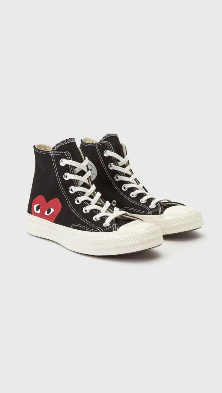 PLAY Comme Des Garçons Hi-Top Converse in Black | The Dreslyn