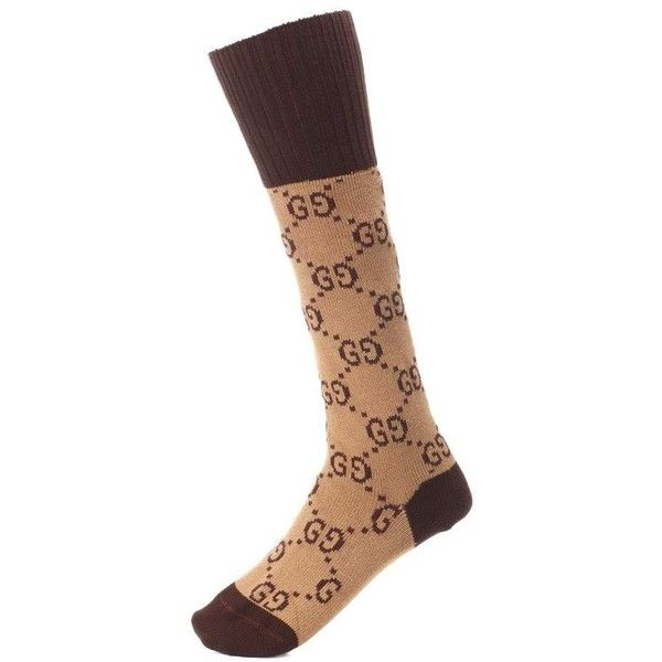 Gucci GG Stretch-Cotton Socks ($120) ❤ liked on Polyvore featuring intimates, hosiery, socks, brown, gucci, brown socks and gucci socks