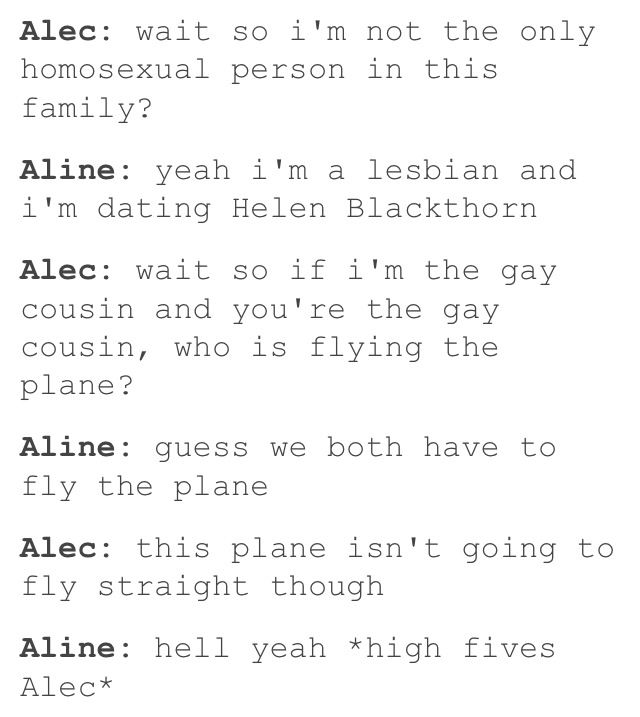 Well, Aline is a Penhallow, does this somehow make you related Lightwood? Oh well.