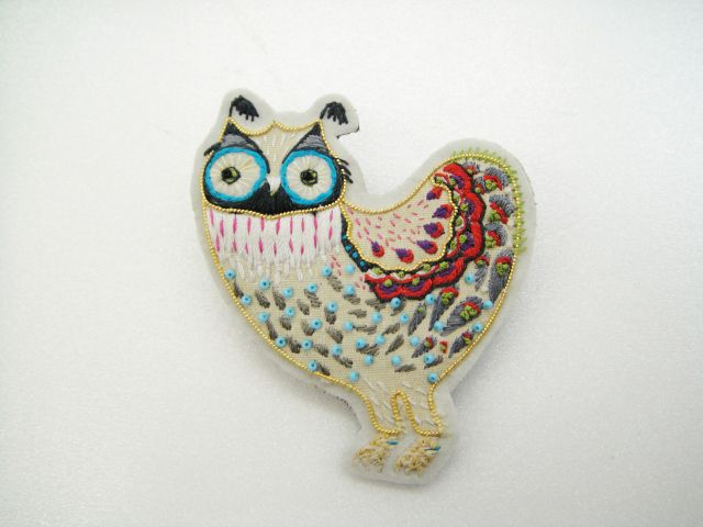 Mr Owl embroidered pin by Klaus Haapaniemi
