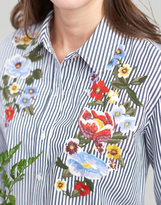 396829b8 Laurel Embroidered Shirt in 2019 | Women's Tops & Blouses | Shirts, Striped  shirt dress, Navy stripes