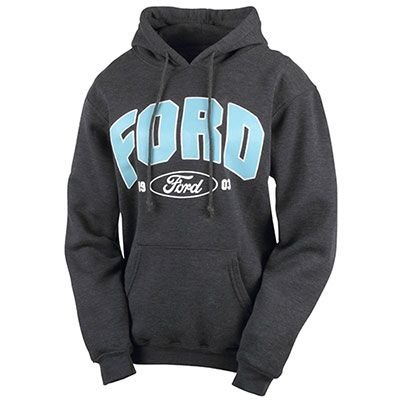 Ford - Ladies' Heavyweight Hoodie Item #: 1040664  Preshrunk cotton adds a touch of polyester to create a comfortable, everyday fit. Pullover design features full-front Ford art, a double-lined drawstring hood, front pouch pockets, and stretchy Lycra® cuffs and waistband. Pairs nicely with 1045310. Charcoal Heather.