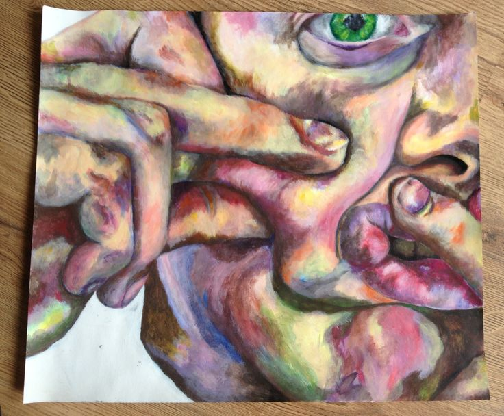 Using hands to distort the face, controlled classwork