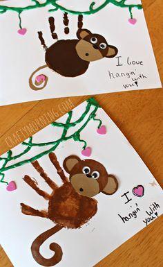 Handprint Monkey Valentine Craft for Kids #Cards | CraftyMorning.com