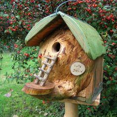 """Nichoir à oiseaux, mésanges """"cote jardin"""" cabane à oiseaux des jardins, bird house, utile et décoratif,"""