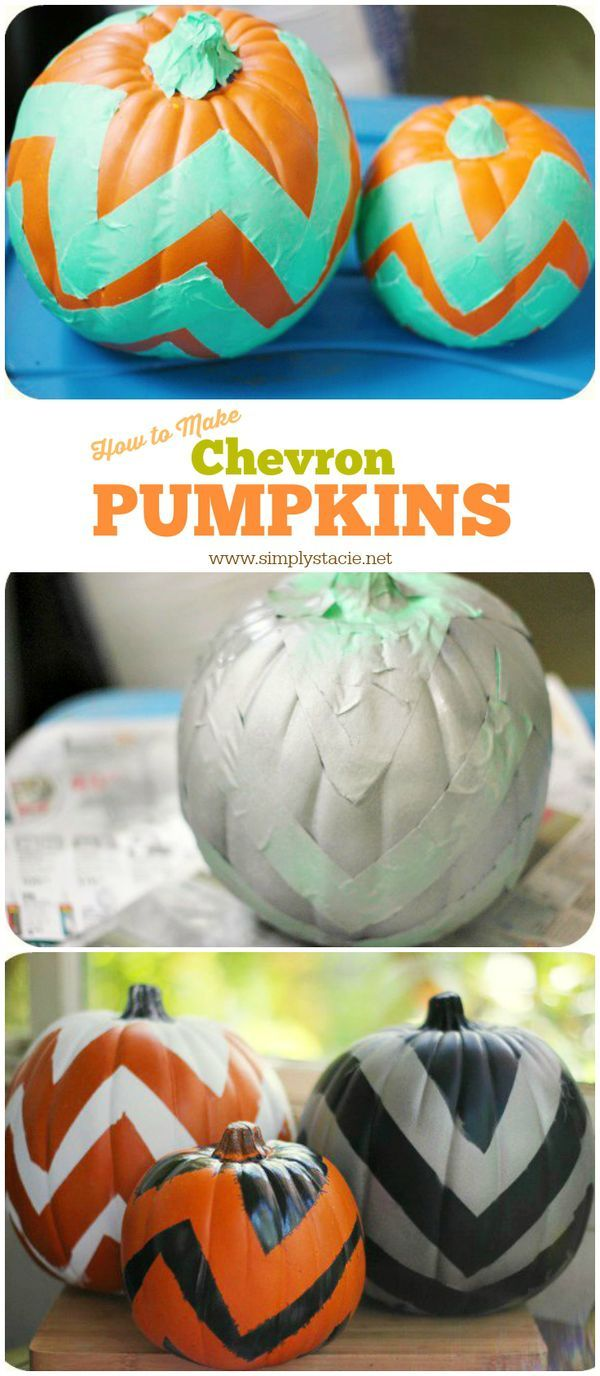 Chevron Pumpkin Tutorial - a fun fall decor diy that is simple to make with only a few supplies!