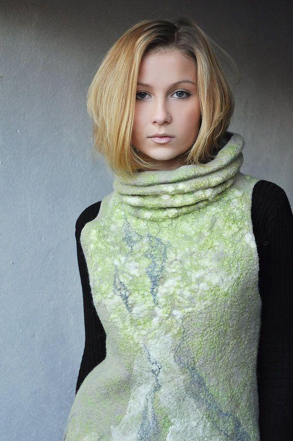 Felt Vest  Felted Wool  size SM   green garden gray by ShellenD, $230.00