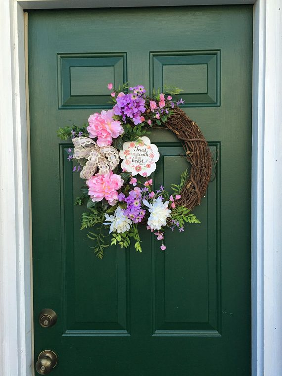 Trust In The Lord Spring Summer Wreath Religious Entrance Wreath Interior  Religious Floral Silk