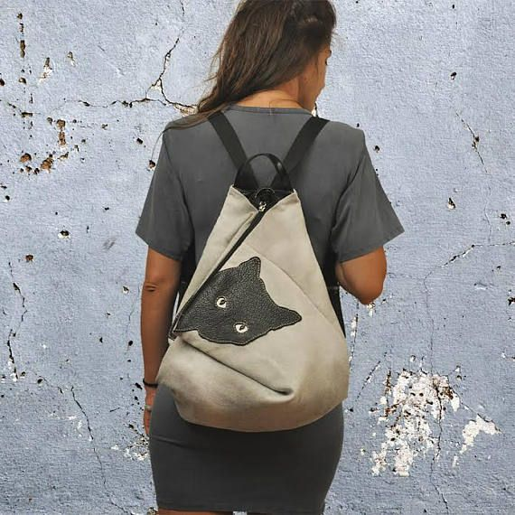 Handmade canvas leather backpackMINOUCHE in light grey