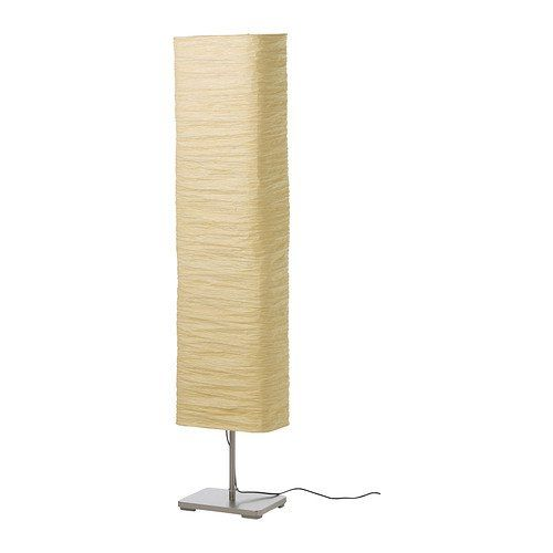 "Product dimensions: Shade width: 13"", Height: 57"", Cord length: 5' 7""; Light bulbs are sold separately. IKEA recommends LEDARE LED bulb E12 200 lumen (3 pcs); Care instructions: Dust the lamp with a dust cloth; Product description: Base/ Tube: Steel, Nickel plated; Weight: Polyethylene, Concrete; Shade: Rice paper"