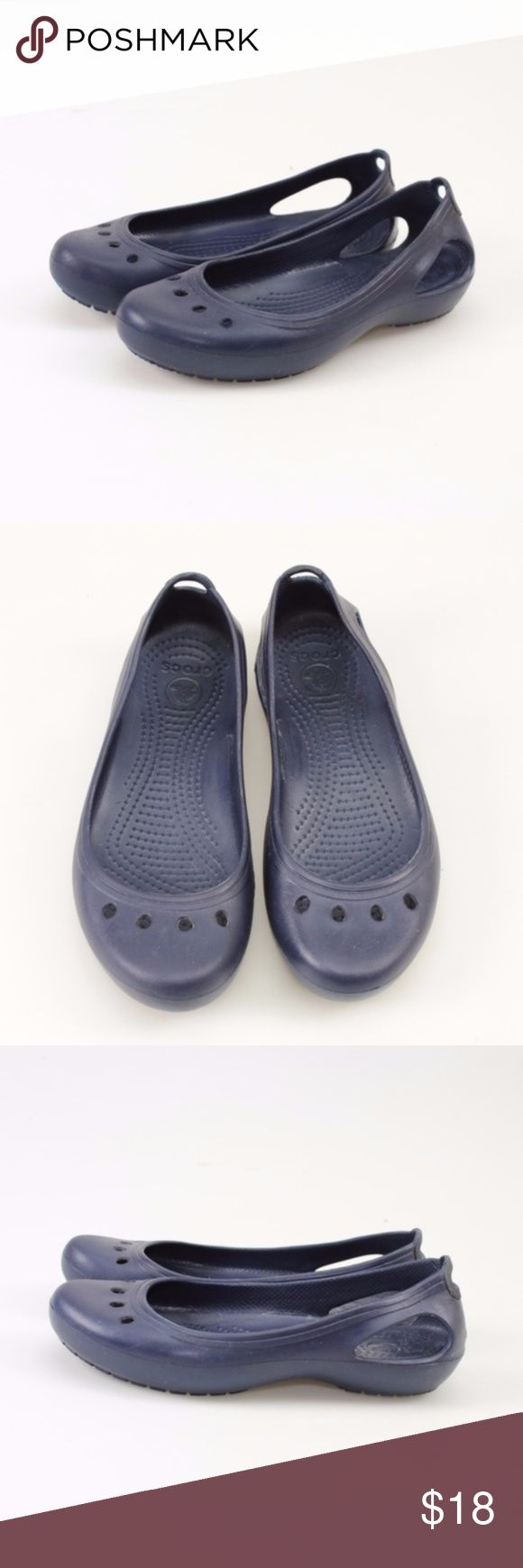 Crocs Kadee Navy Slip-On Flats // Size 6 A pretty, feminine take on the Crocs Clog these slip-on shoes are ideal for any casual occasion! Croslite footbed molds to your feet for a custom fit. Ventilation holes keep you cool and comfortable. Non-marking Croslite outsole offers peace of mind.  These shoes were a store return, so they do not come in a box. They have been worn, but are in great condition and have been disinfected. #12WKSD // Crocs // Kadee // Flats // Slip Ons // All Navy CROCS…