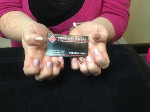 Shellac Manicure with accent nails www.vixenspa.com