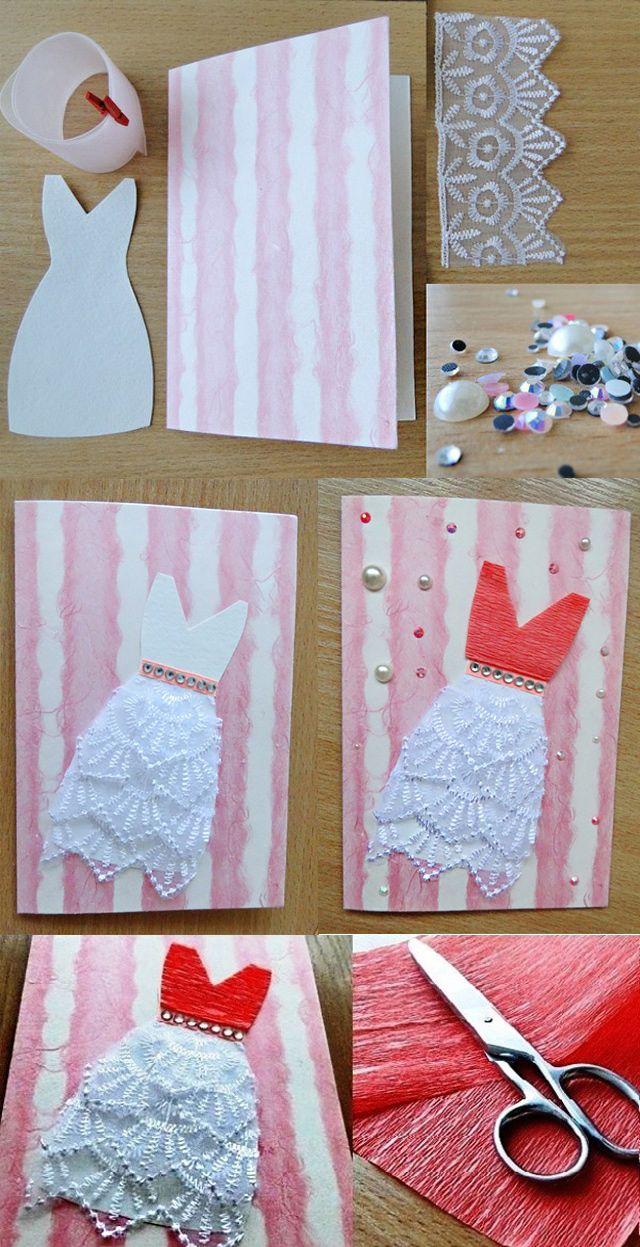 как сделать открытку с платьем своими руками мастер класс одну картинку