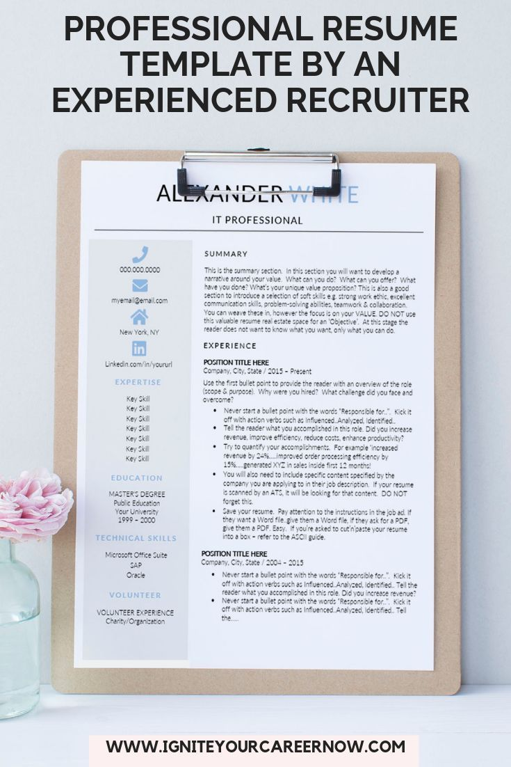 Resume Template It Professional Cv Template Word Computer Etsy Resume Words Resume Template Resume Design Template