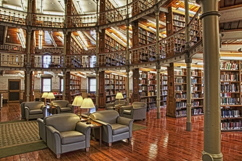 Stacks in the rotunda at the Linderman Library, Lehigh University, Bethlehem, Pennsylvania