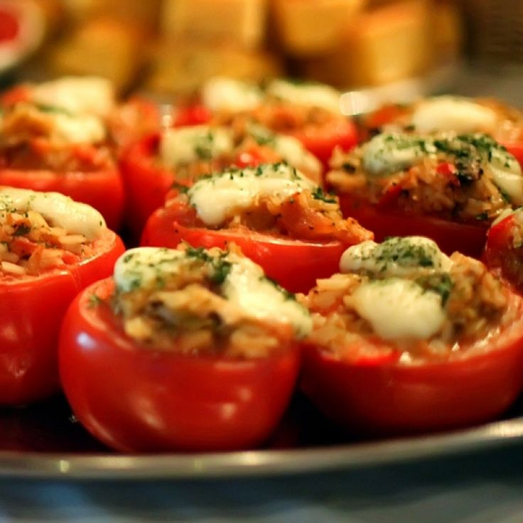 Crab Stuffed Campari Tomato Appetizers Recipe from The Healthy Kitchen