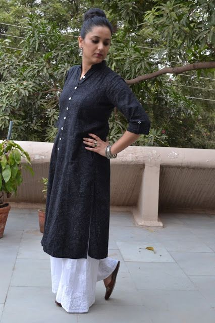 Ethnic look long kurta with palazzos. Look super chic and stylish in Indian ethnic wear. Read for more.