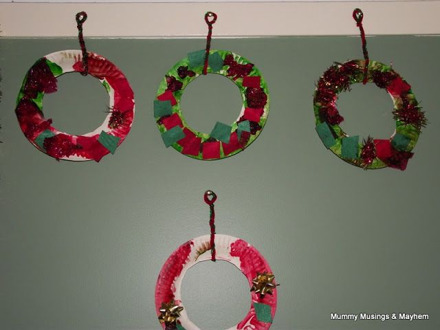Toddler Christmas craft.  Use green felt, crepe paper, festive colours, paper plates and let the children decide how they want their wreath to look!