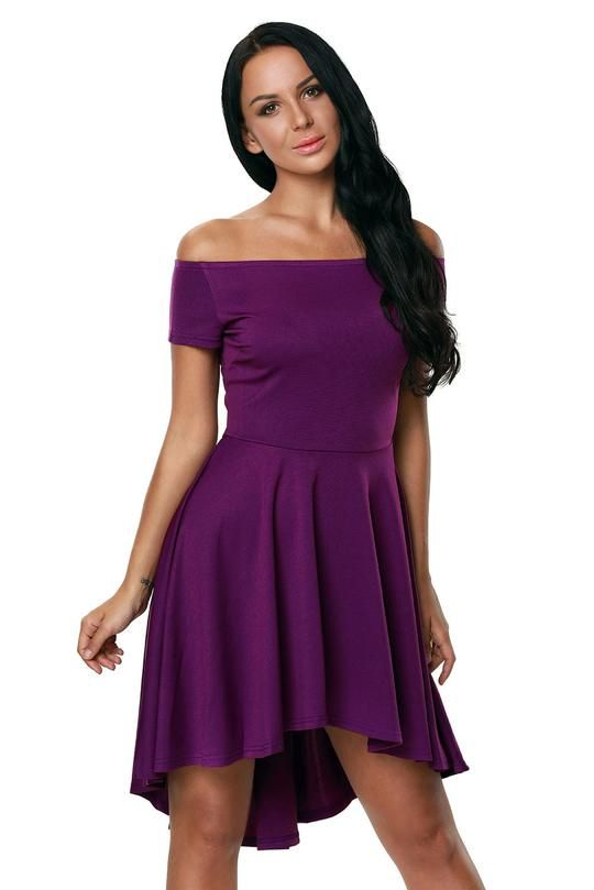 d47818b1290b Purple Shoulder Off All The Rage Fit and Flare Skater Dress in 2019 ...