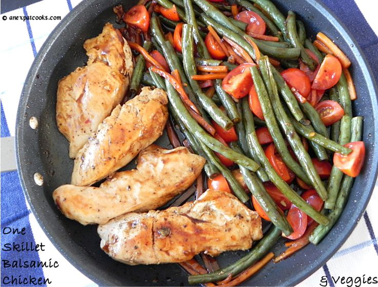 An Expat Cooks: One Skillet Balsamic Chicken and Veggies-substitute mushrooms in place of carrots...
