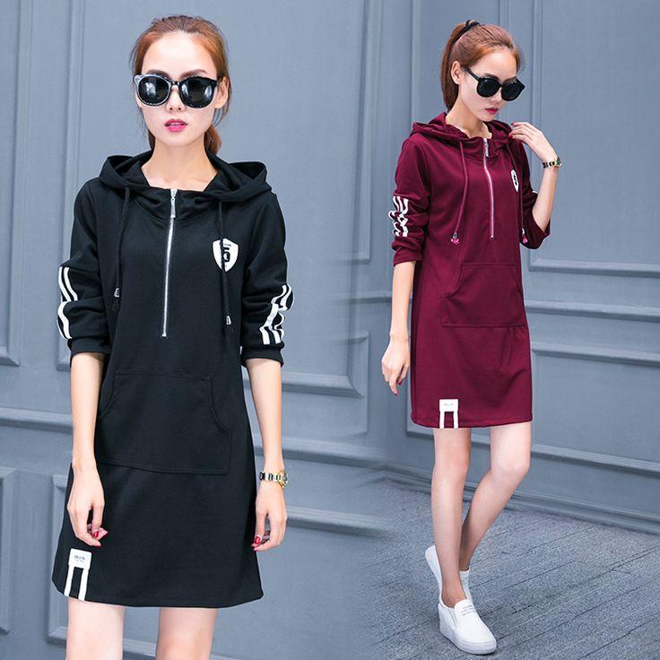 Plus Size Women dress Hooded Full Sleeve Fat Younger Sister Long Movement Fleece Dresses Black Wine Red 8137
